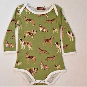 Milkbarn long sleeve dog-print onesie